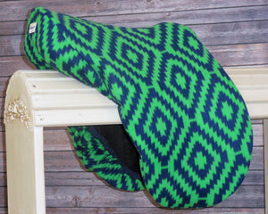 Kelley Green and Navy Print  Fleece Saddle Cover