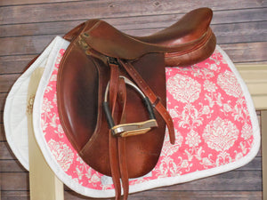 White and Coral AP Saddle Pad