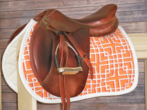 White and Orange Geo Saddle Pad - AP