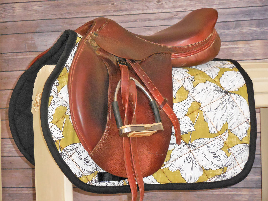 Black and Citron with Large White Flowers AP Saddle Pad