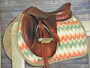 Tan, Orange and Sage Chevron Saddle Pad - AP