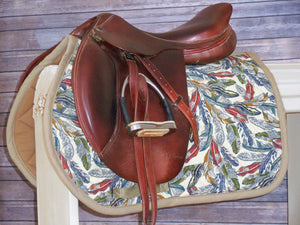 Tan with Navy Feathers AP Saddle Pad