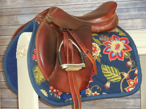 Navy Large Red Flowers Tapestry Saddle Pad