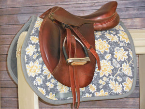Grey With Yellow Flowers AP Saddle Pad