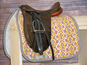 Grey, Yellow, Purple Dressage Saddle Pad