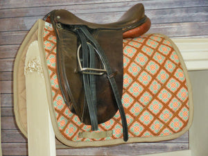 Chocolate with Retro Orange and Teal Dressage Saddle Pad