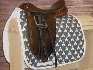 Vintage Grey with White Teepees Dressage Saddle Pad