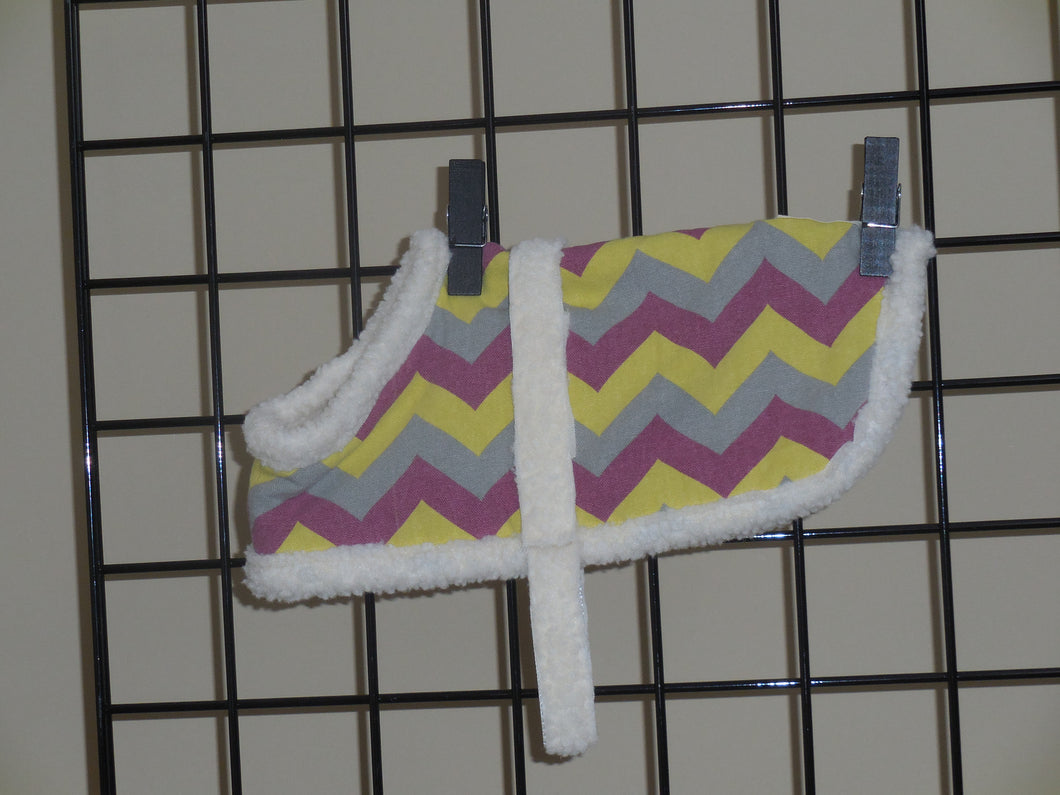 Purple & Yellow Chevron Sherpa Coat XS