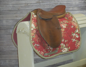 Vintage Red Rose Saddle Pad
