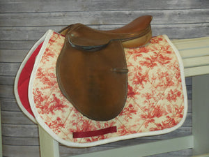 Red and Cream Toile Dressage Saddle Pad (Made to Order-AP shown)