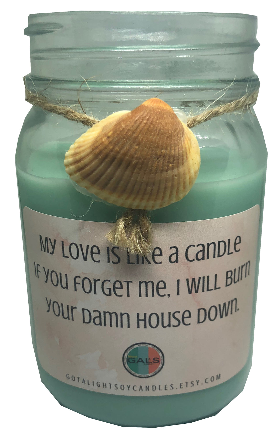 My Love Is Like a Candle Sea Mist Scent 16oz Mason Jar Soy Wax Organic Candle, [product_type], Got A Light Soy Candles, [variant_title]