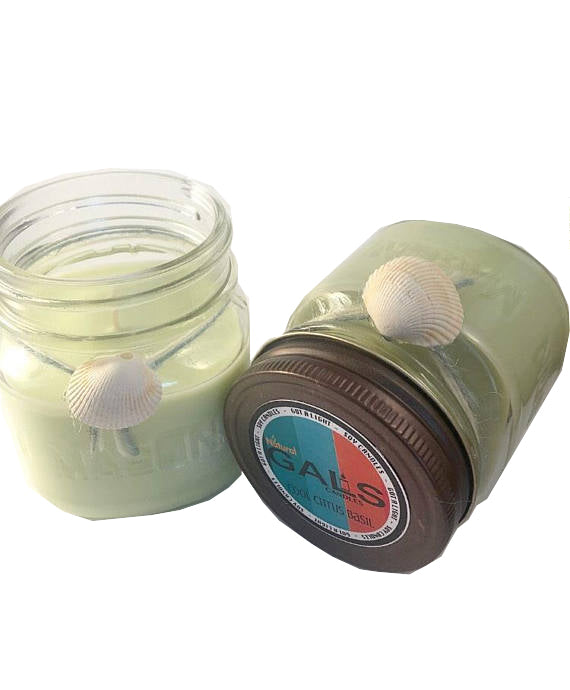 SALE - Cool Citrus Basil 8oz Mason Jar Soy Wax Organic Candle, [product_type], Got A Light Soy Candles, [variant_title]