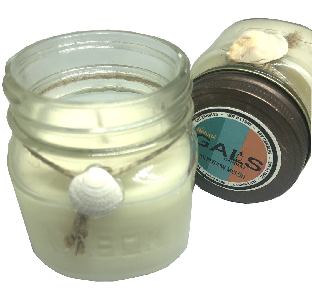 SALE - Honeydew Melon 8oz Mason Jar Soy Wax Organic Candle, [product_type], Got A Light Soy Candles, [variant_title]