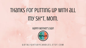 Mother's Day Thanks for Putting Up With All My S*** Mom Plumeria Funny Quote 16oz Mason Jar Soy Wax Organic Candle, [product_type], Got A Light Soy Candles, [variant_title]