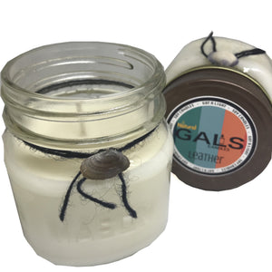 Leather 8oz Mason Jar Soy Wax Organic Candle, [product_type], Got A Light Soy Candles, [variant_title]