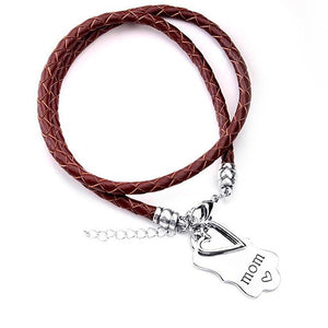 Mom Heart Bracelet (Brown)
