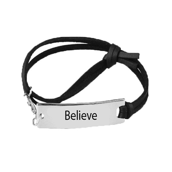Believe Leather Strap Bracelet