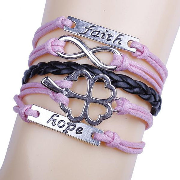 Clover Faith Hope Infinity Bracelet