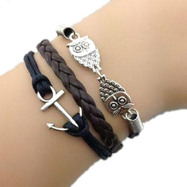 Double Owl Anchor Bracelet