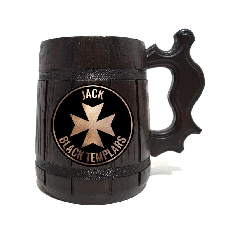 1 / Side ($29.00) Templars Wooden Black Beer Mug