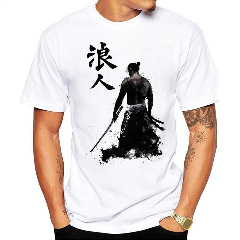 1237 / S Ancient Japanese Samurai  Armored  Printed -T-Shirt