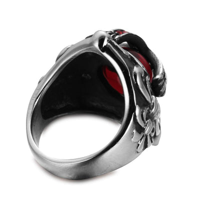 7 Knights Templar Red Stone Ring