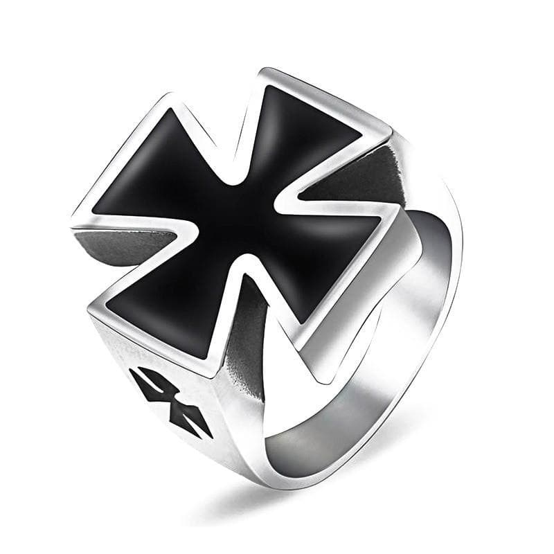 7 Stainless Steel Black Templar Knight Cross Ring
