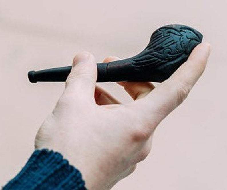 Viking Raven - Huginn and Muninn Ebonite Smoking Pipe