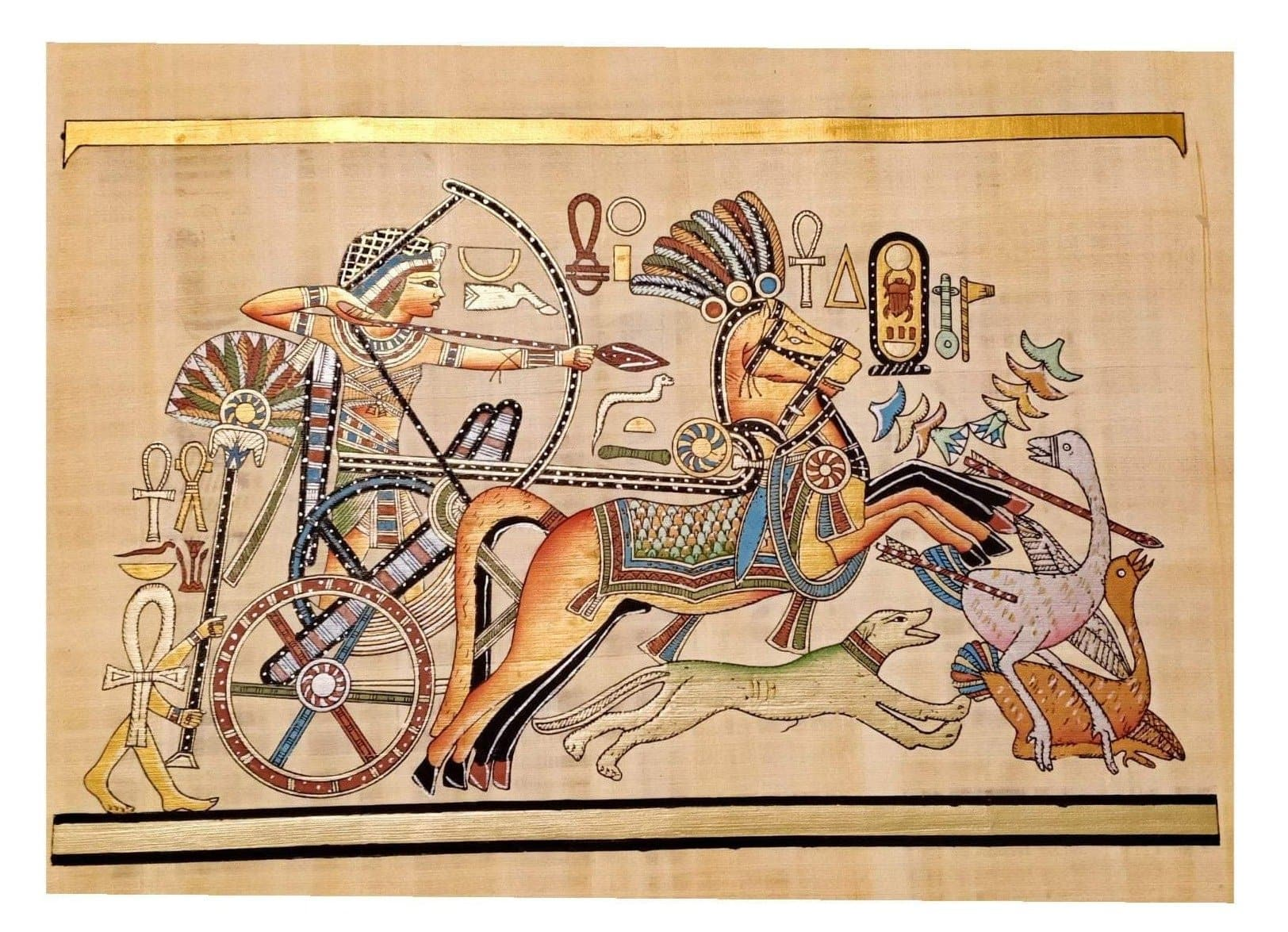 Ancient Egypt King Tut Hunting Geese Hand-Painted Papyrus Ancient Treasures Ancientreasures Viking Odin Thor Mjolnir Celtic Ancient Egypt Norse Norse Mythology