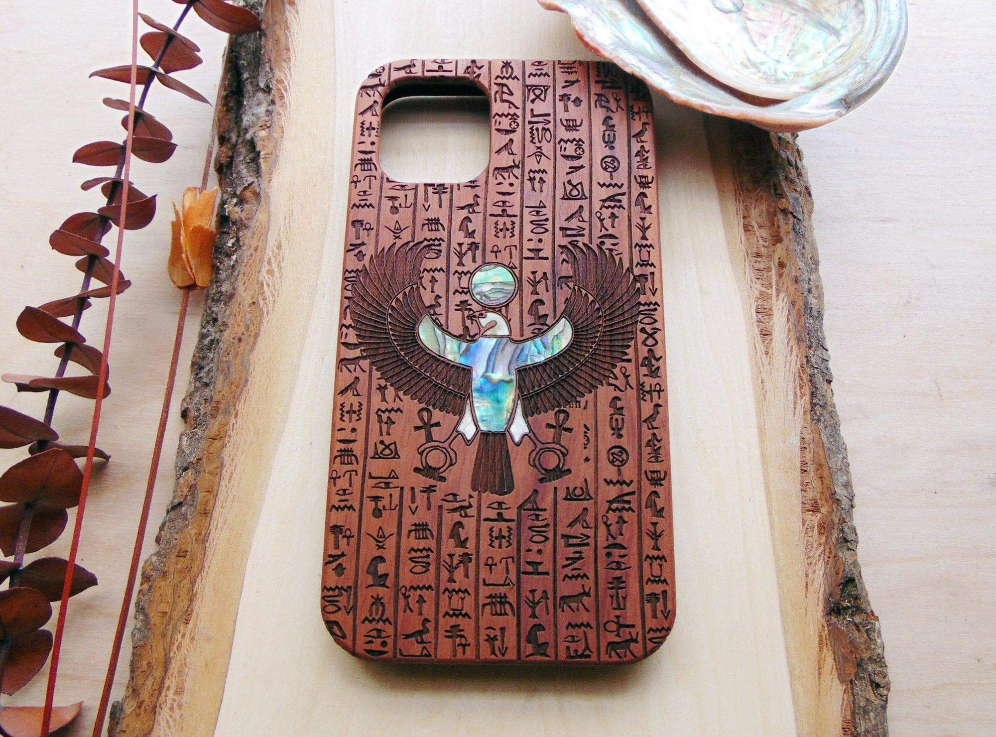 Ancient Egyptian God Horus Wooden Phone Case with Inlay Ancient Treasures Ancientreasures Viking Odin Thor Mjolnir Celtic Ancient Egypt Norse Norse Mythology