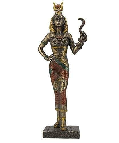"Ancient Egyptian Goddess Hathor Holding Snake 11.5"" Statue Ancient Treasures Ancientreasures Viking Odin Thor Mjolnir Celtic Ancient Egypt Norse Norse Mythology"