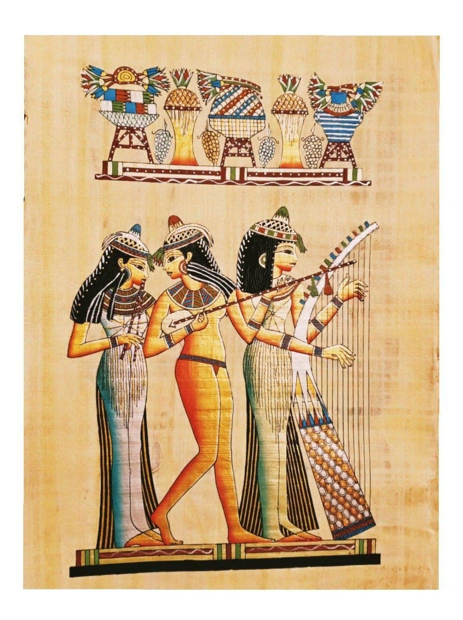 Ancient Egyptian Music Girls Hand-Painted Papyrus Ancient Treasures Ancientreasures Viking Odin Thor Mjolnir Celtic Ancient Egypt Norse Norse Mythology