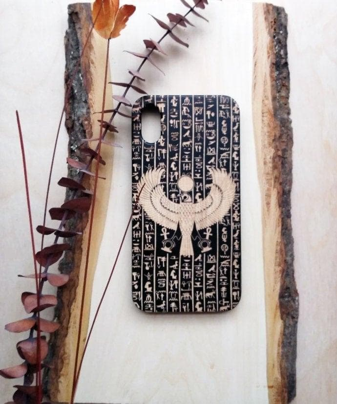 Ancient Egyptian Sky God Horus Wooden iPhone/Samsung Phone Case Ancient Treasures Ancientreasures Viking Odin Thor Mjolnir Celtic Ancient Egypt Norse Norse Mythology