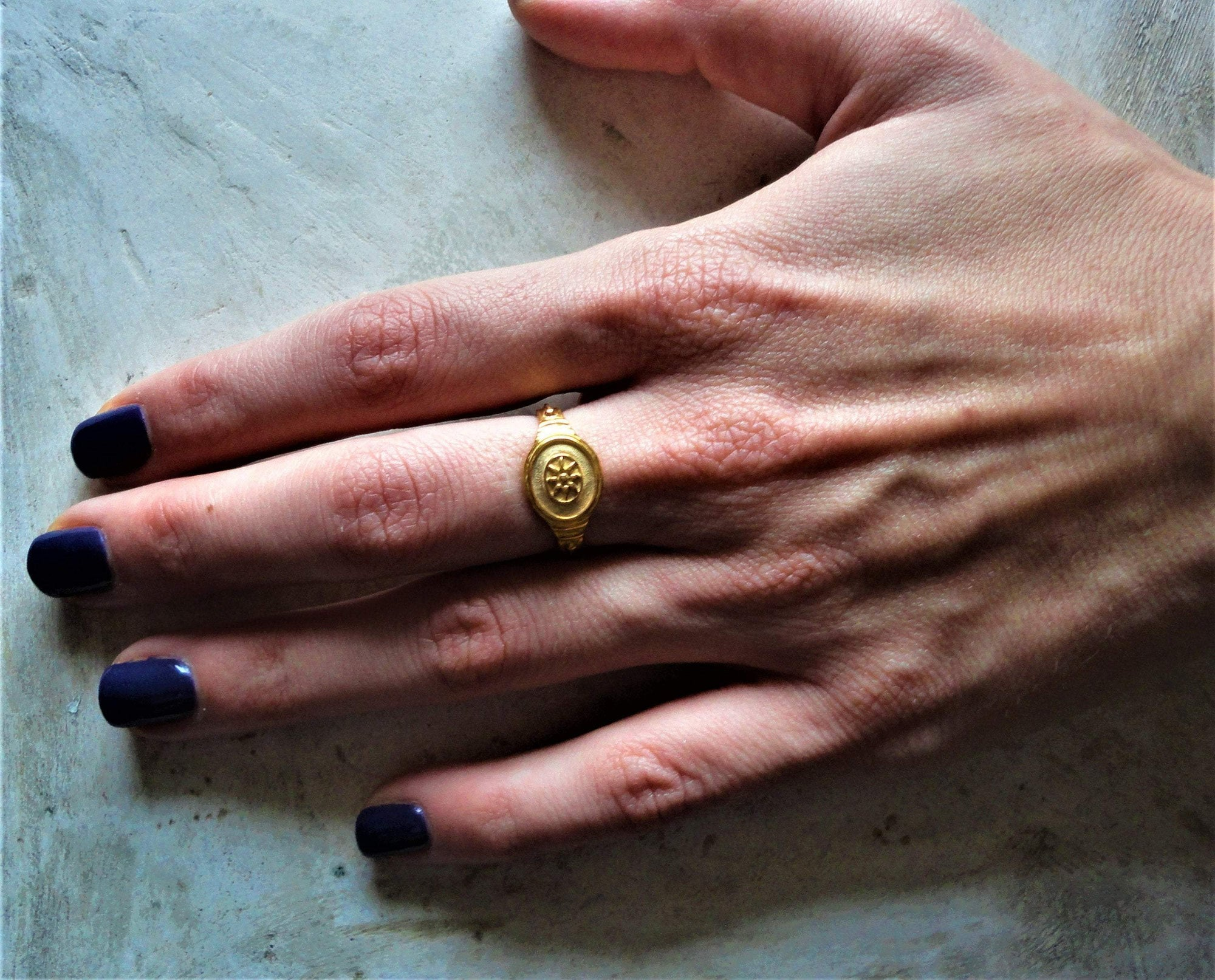 Ancient Greece 18K Yellow Gold (₪2 / EU 52 Ancient Greek Archaic Ring