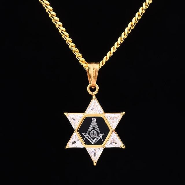 Ancient Greece Gold / 60 CM Masonic Star of David Square and Compasses Necklace