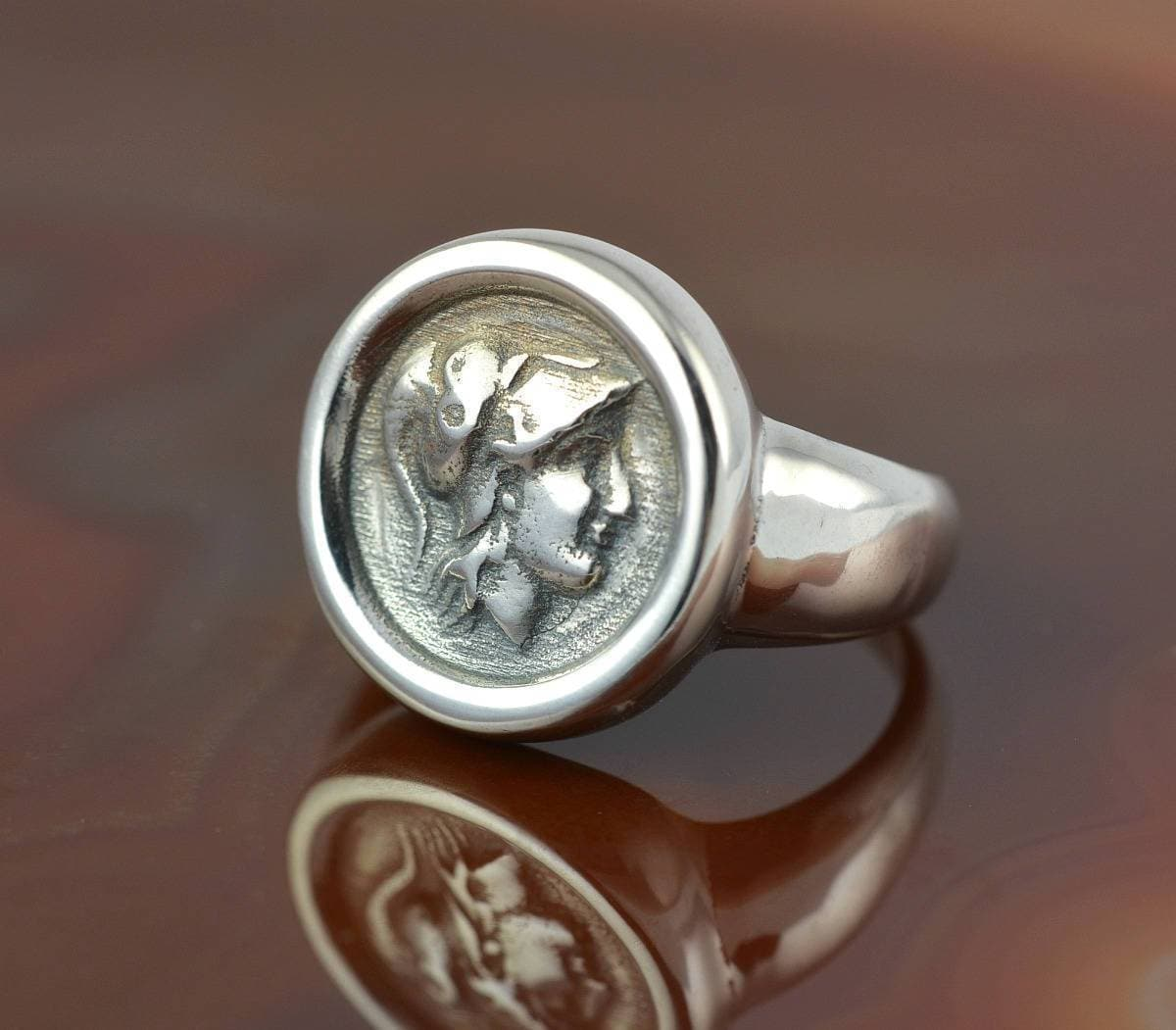 ancient greek coin silver ring Athena ring antique coin ring greek ring Athena coin coin ring antique rings antique ring Athena ring