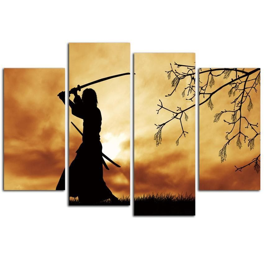Ancient Japan 4Pcs Unframed Ancient Japan Samurai Living Room Wall Art