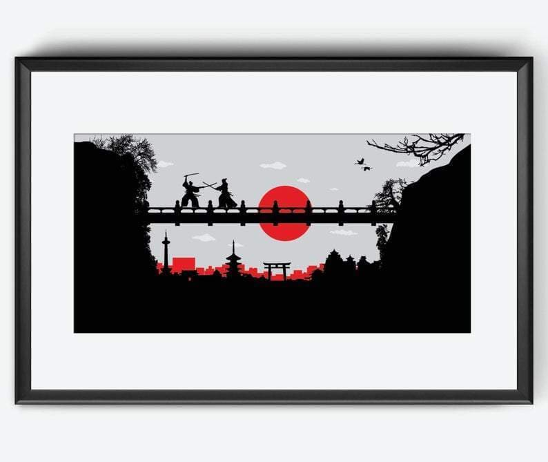 Ancient Japan 56 x 28.5 cm ($25.51) Ancient Japan Kyoto Samurai Skyline Print Wall Art