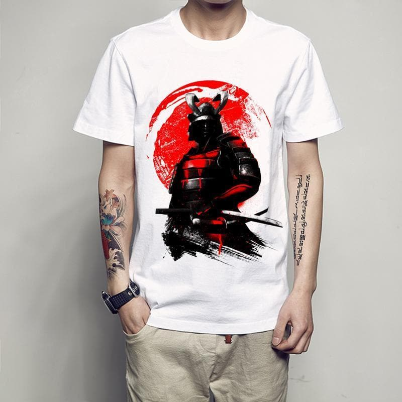 Ancient Japan B0032 / S Ancient Japan Red Samurai Warrior T-Shirt