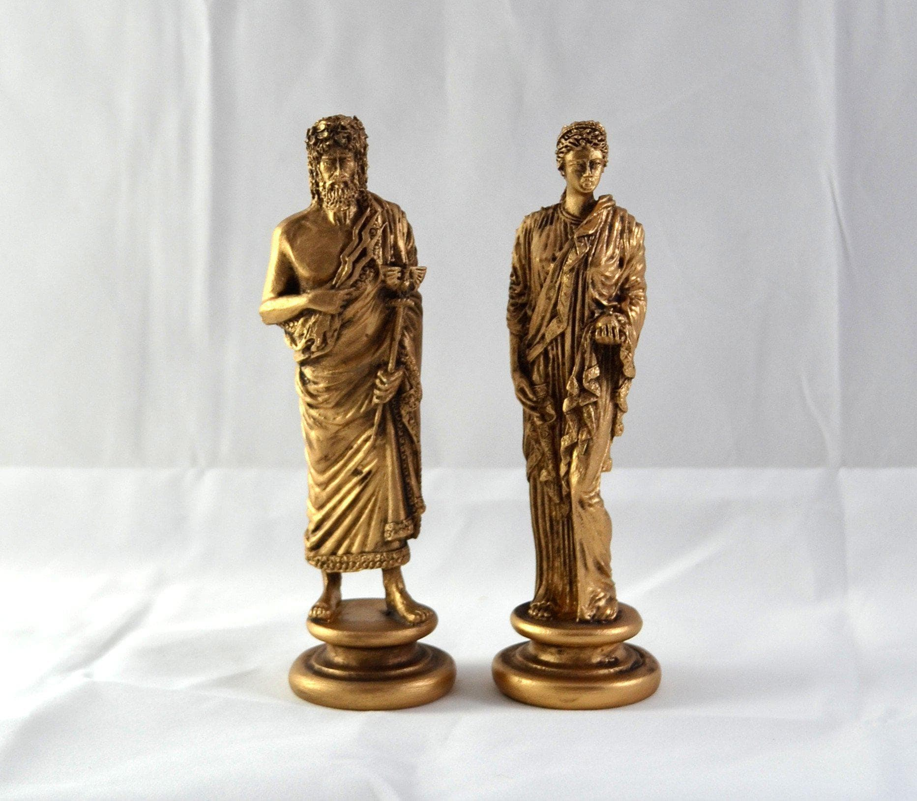 Ancient Roman Gods Jupiter & Juno Gold Patina Statue Set Ancient Treasures Ancientreasures Viking Odin Thor Mjolnir Celtic Ancient Egypt Norse Norse Mythology