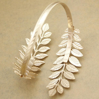 Ancient Roman Silver Plated Roman Laurel Leaf Upper Arm Cuff