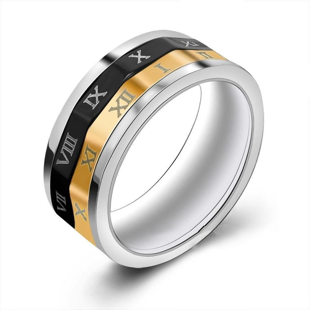 Ancient Roman Numerals Titanium Ring
