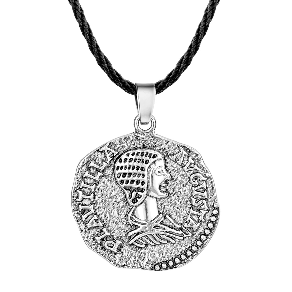 Ancient Rome Antique Silver Plated Ancient Roman Coin PLautilla  Avgvsta Necklace