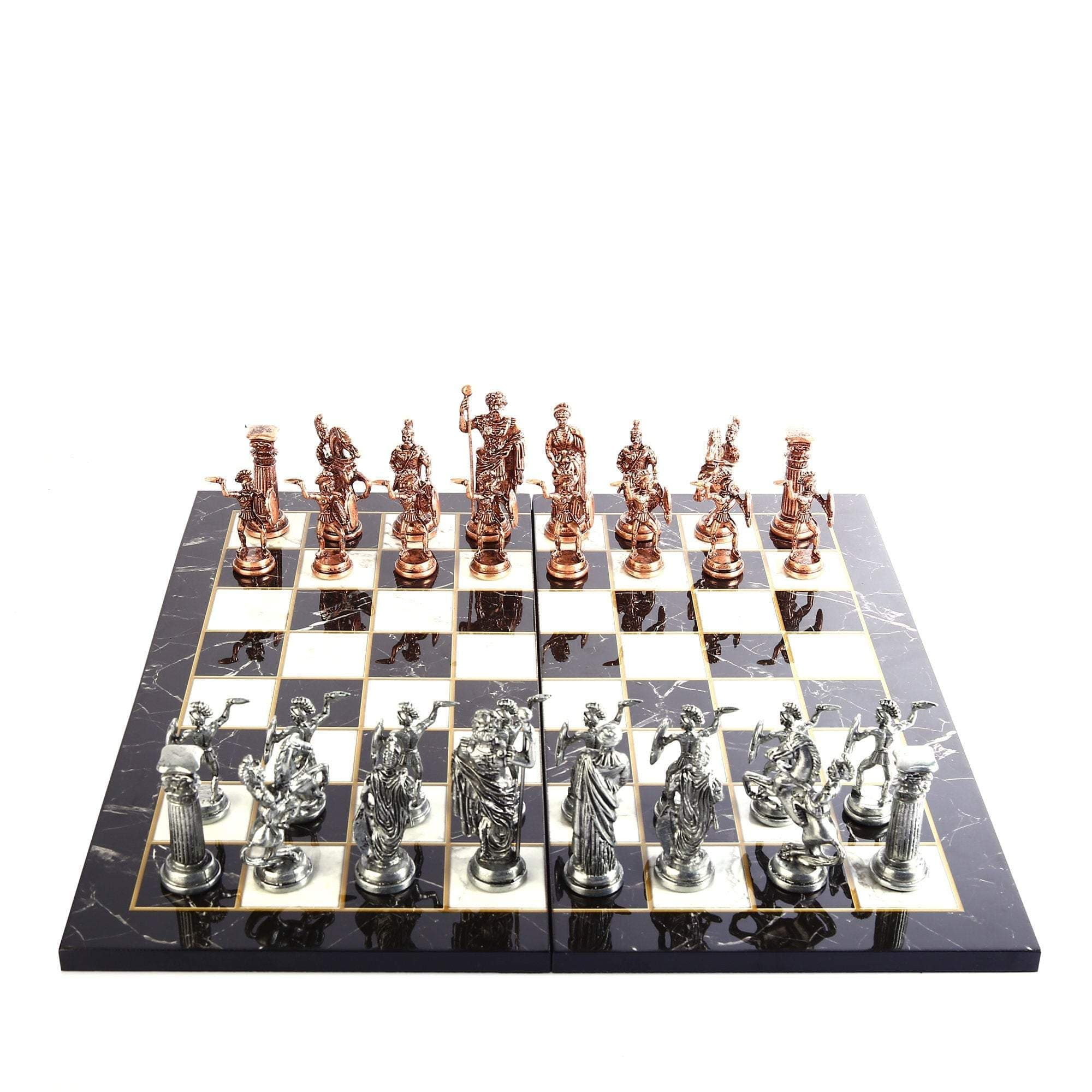 Ancient Rome Historical Metal Chess Set and marble Design Wood Chessboard Ancient Treasures Ancientreasures Viking Odin Thor Mjolnir Celtic Ancient Egypt Norse Norse Mythology