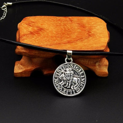 Antique Silver Plated Ethnic Knights Templar Seal Necklace Jewelry Collier Viking  Drop Shipping 1pc
