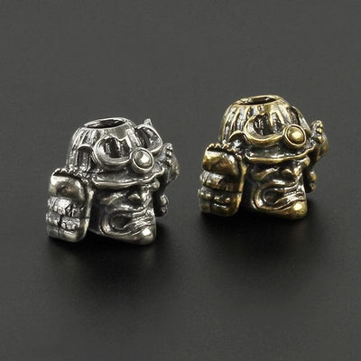 Feudal Japan Samurai Skull Helmet Brass Knife Bead