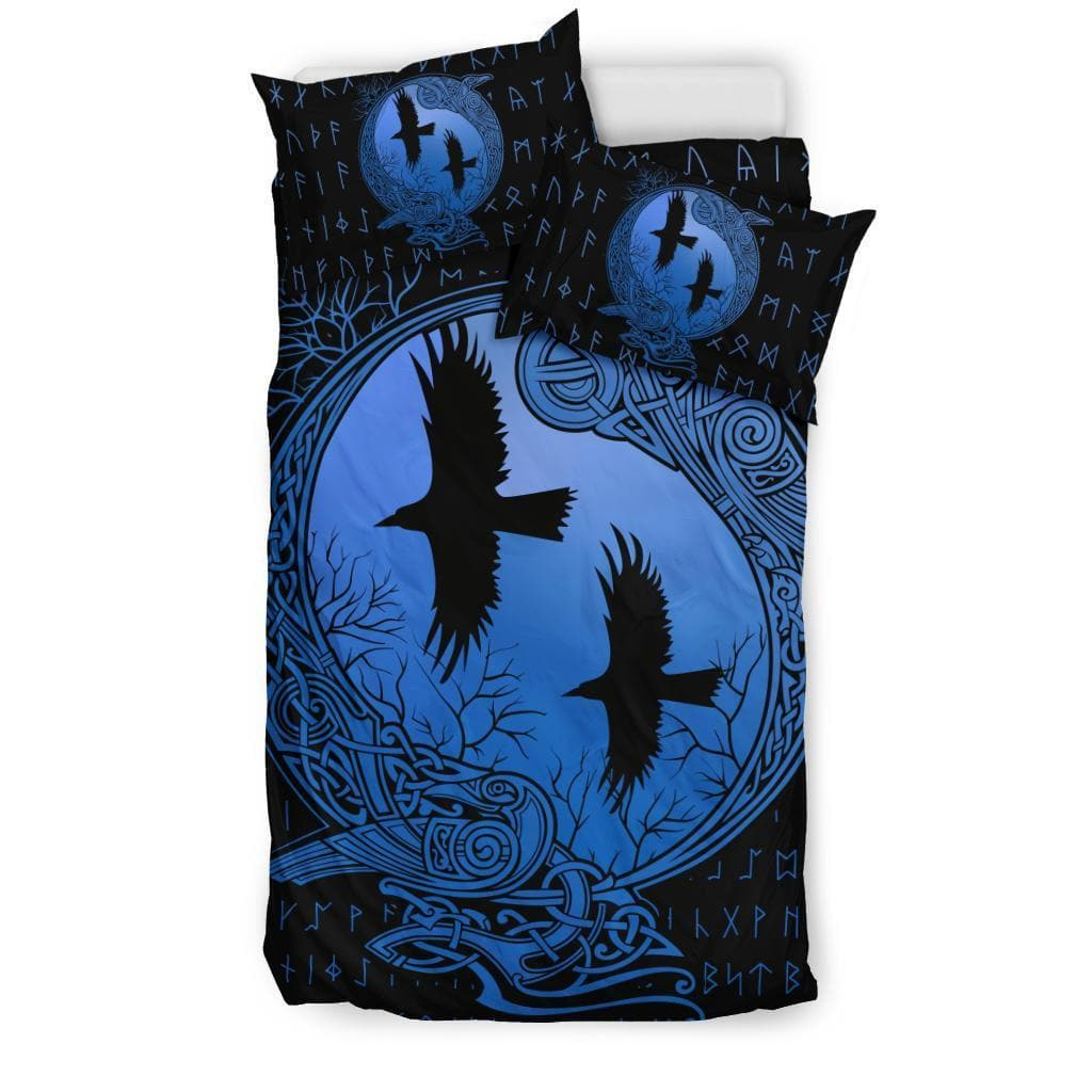 Bedding Set - Black - Huginn and Munnin Blue Duvet Cover and Pillow Cases Set / US Twin Huginn and Munnin Blue Duvet Cover and Pillow Cases Set Ancient Treasures Ancientreasures Viking Odin Thor Mjolnir Celtic Ancient Egypt Norse Norse Mythology