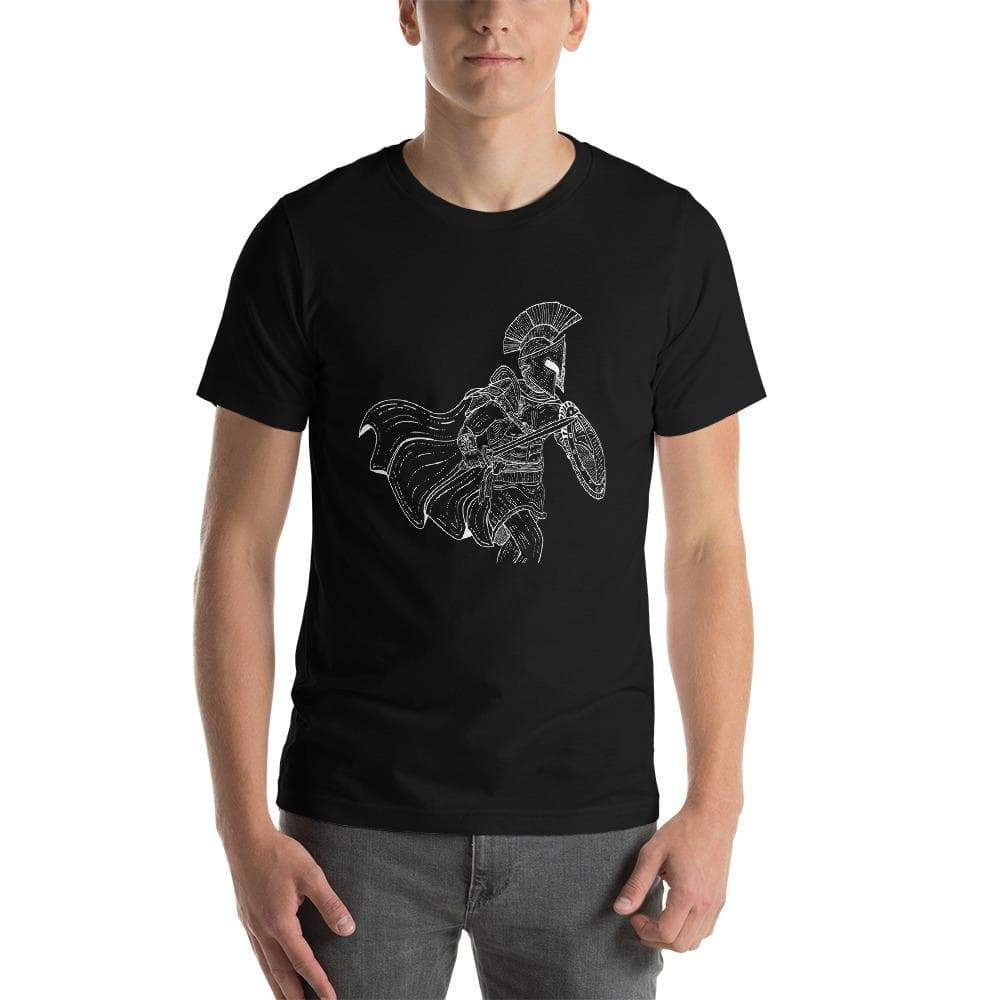 Black / XS Ancient Greek Soldier Unisex T-Shirt Ancient Treasures Ancientreasures Viking Odin Thor Mjolnir Celtic Ancient Egypt Norse Norse Mythology