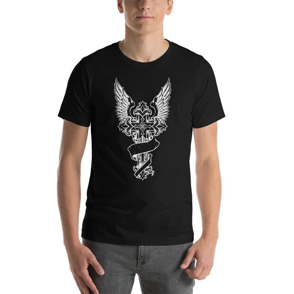 Black / XS Winged Templar Cross Unisex T-Shirt Ancient Treasures Ancientreasures Viking Odin Thor Mjolnir Celtic Ancient Egypt Norse Norse Mythology