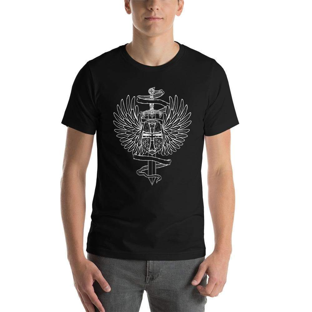 Black / XS Winged Templar Helmet and Sword Unisex T-Shirt Ancient Treasures Ancientreasures Viking Odin Thor Mjolnir Celtic Ancient Egypt Norse Norse Mythology